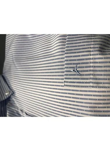 Abbate Kolay Ütülenır Düğmelı Yaka Çızgılı Regularfıt Ceplı Gömlek Mavi